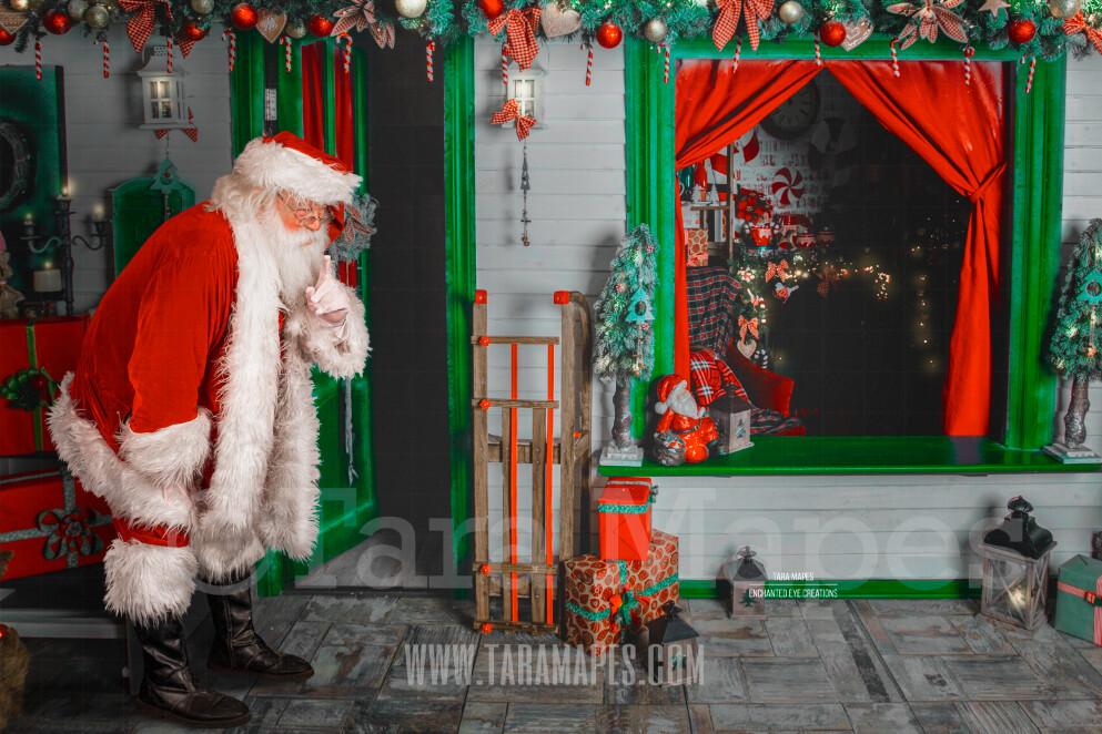 Storybook Santa - Santa's Workshop - Santa's House - Storybook Santa Painterly- Cozy Christmas Holiday Digital Background Backdrop