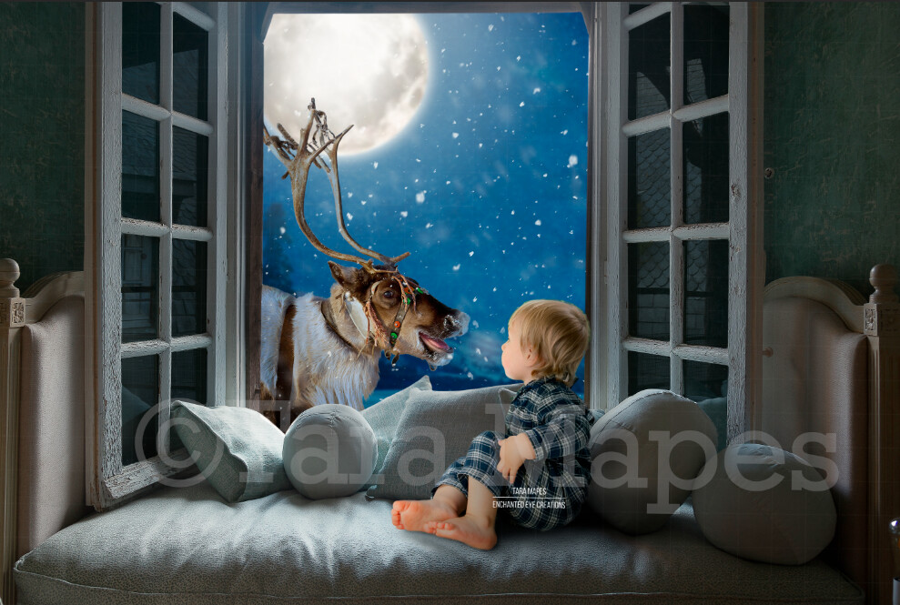 Christmas Window with Smiling Reindeer  - Rudolph in Window Christmas Digital Background Backdrop
