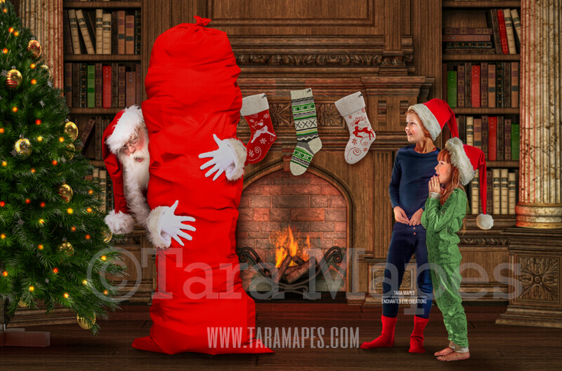 Santa with Big Bag by Christmas Tree - Catching Santa- Santa by Fireplace - Children Catching Santa Scene - Cozy Christmas Holiday Digital Background Backdrop