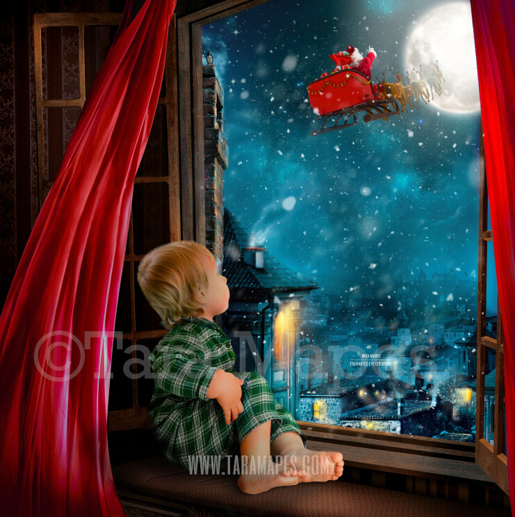 Christmas Window with Blowing Red Curtains  - Santa in Moon Christmas Digital Background Backdrop