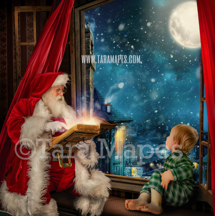 Santa at Christmas Window Seat with Blowing Red Curtains  - Santa Reading Magic Book Christmas Digital Background Backdrop