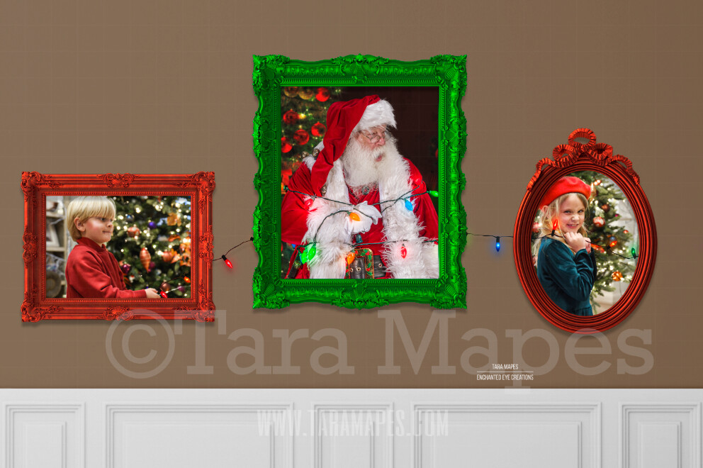 Santa Frames - Christmas Holiday Frames on Wall - LAYERED PSD! Funny Christmas Card Idea - Holiday Christmas Digital Background / Backdrop
