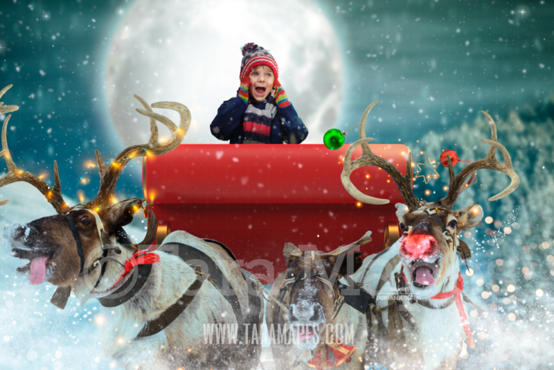 Reindeer Flying in Sky with Sleigh Over Christmas Town - LAYERED PSD! Smiling Reindeer - Riding in Sleigh Holiday Christmas Digital Background /Backdrop