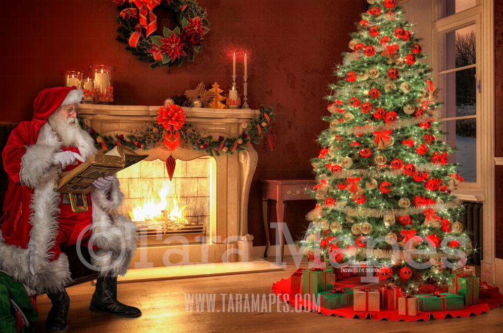 Santa Reading Book by Fireplace  - Santa Reading Magic Book Christmas Digital Background Backdrop