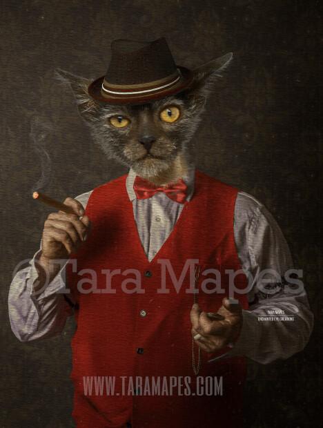 Gangster Pet Portrait PSD Template - Pet Gangster Body Tara Mapes - Layered PSD  Digital Background Backdrop