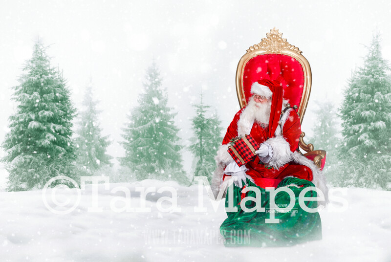 Storybook Santa at North Pole in Throne - Storybook Santa - FREE Snow Overlay!   Cozy Christmas Holiday Digital Background Backdrop