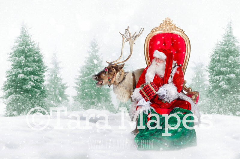 Storybook Santa at North Pole in Throne with Rudolph - Storybook Santa - FREE Snow Overlay!   Cozy Christmas Holiday Digital Background Backdrop