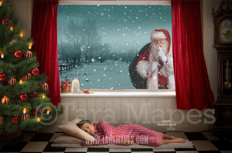 Christmas Window Santa in Window Shhh - Vintage Old Fashioned Room with Grandfather Clock Digital Background Backdrop