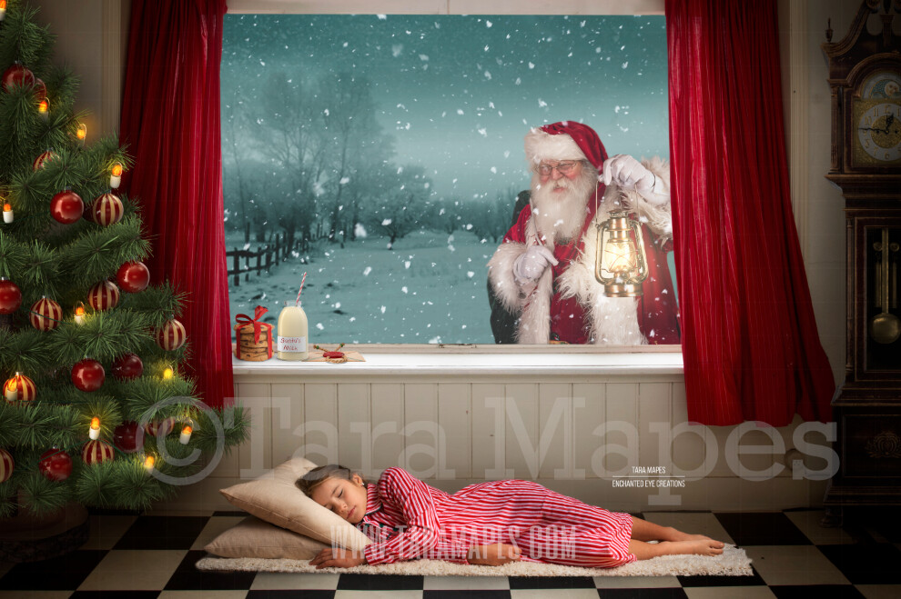Christmas Window Santa in Window with Lantern - Vintage Old Fashioned Room with Grandfather Clock Digital Background Backdrop