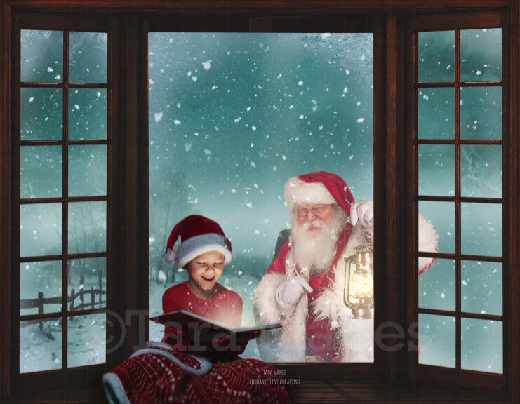 Christmas Window Santa in Window with Lantern - Window Seat - Santa Window Digital Background Backdrop