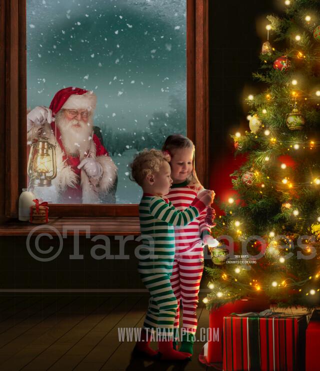 Santa Looking in - Decorating a Christmas Tree Scene -  Santa in Window Watching Holiday Christmas Digital Background Backdrop