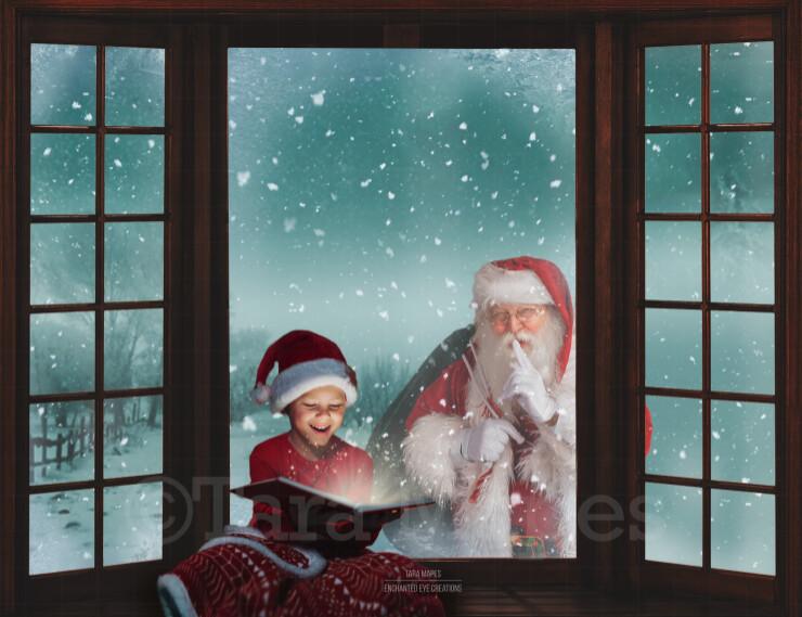 Christmas Window Santa in Window Saying Shh- Santa Looking In Window Seat - Santa Window Digital Background Backdrop