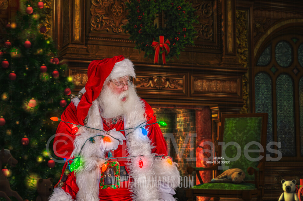 Santa Tied up in Lights - Storybook Santa Funny - Cozy Christmas Holiday Digital Background Backdrop