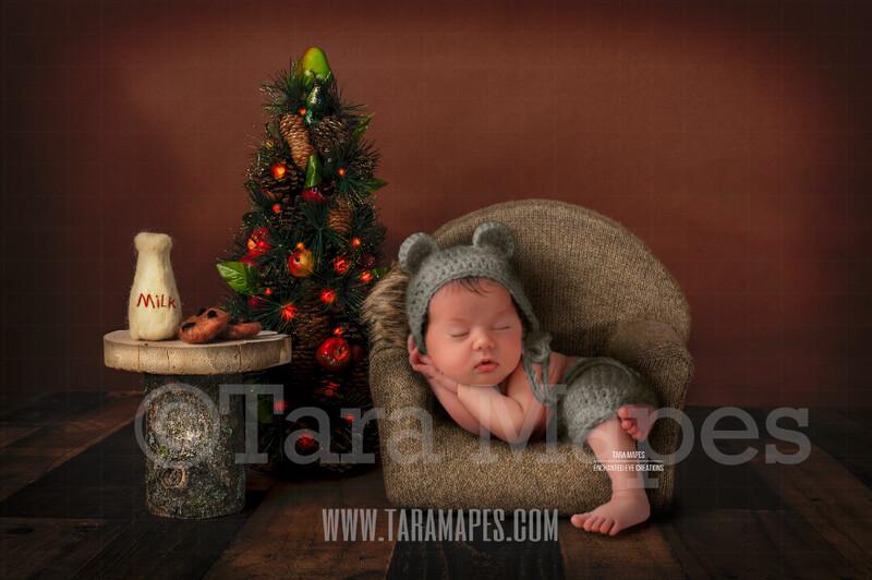 Newborn Christmas Chair - Cozy Christmas Scene with Christmas Chair and Christmas Tree for Newborn Digital Background by Tara Mapes