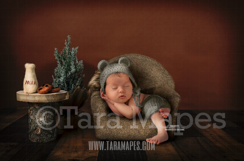 Newborn Christmas Chair - Cozy Christmas Scene with Christmas Chair and Pine Tree for Newborn Digital Background by Tara Mapes
