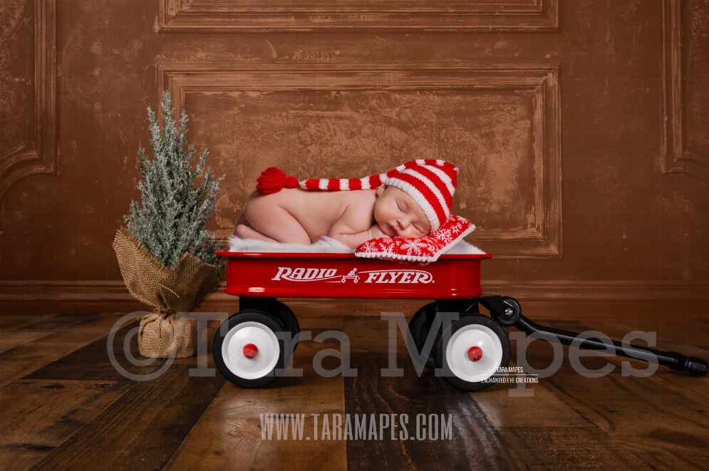 Red Wagon Christmas Digital Overlay - Newborn Digital Background by Tara Mapes
