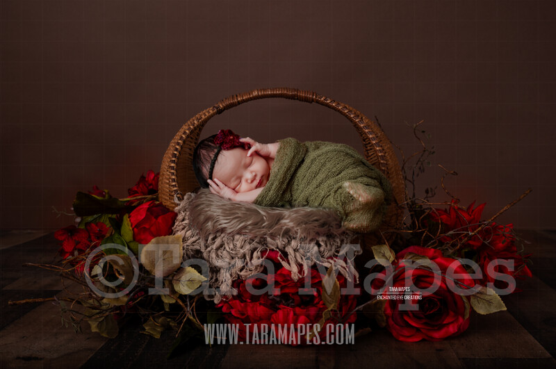 Newborn Basket with Red Roses Digital Backdrop - Newborn Overlay - Newborn Digital Background by Tara Mapes