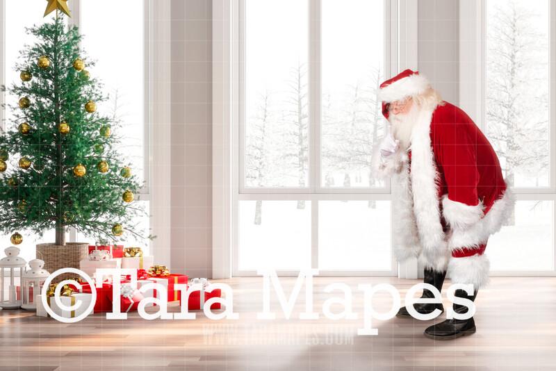 Santa Saying Shhh- Santa Bright Winter Day by Windows - Cozy Christmas Holiday Digital Background Backdrop
