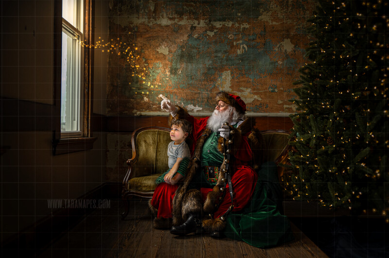 Victorian Santa on Vintage Couch  - Santa Pointing out Window- Cozy Christmas Holiday Digital Background Backdrop