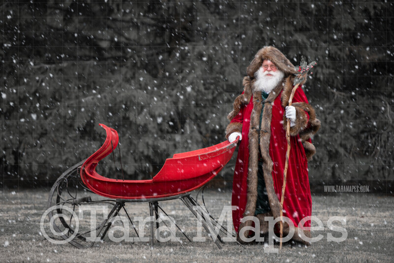 Victorian Santa with Sleigh - Victorian Santa in Snow - FREE SNOW OVERLAY - Whimsical Winter Digital Background Backdrop