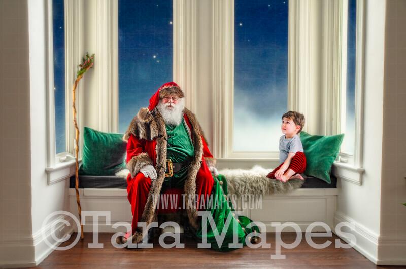 Victorian Santa Window Seat Whimsical Scene  - Santa at Magical Bay Window Painterly Style Cozy Christmas Holiday Digital Background Backdrop