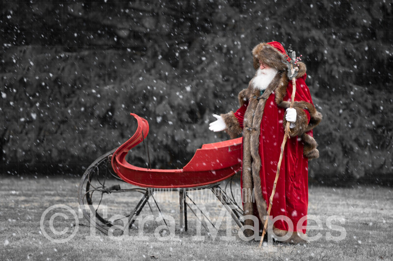 Victorian Santa with Sleigh - Victorian Santa in Snow Sleigh Invite - FREE SNOW OVERLAY - Whimsical Winter Digital Background Backdrop