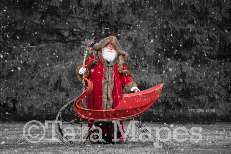 Victorian Santa with Sleigh Smiling - Victorian Santa in Snow - FREE SNOW OVERLAY - Whimsical Winter Digital Background Backdrop