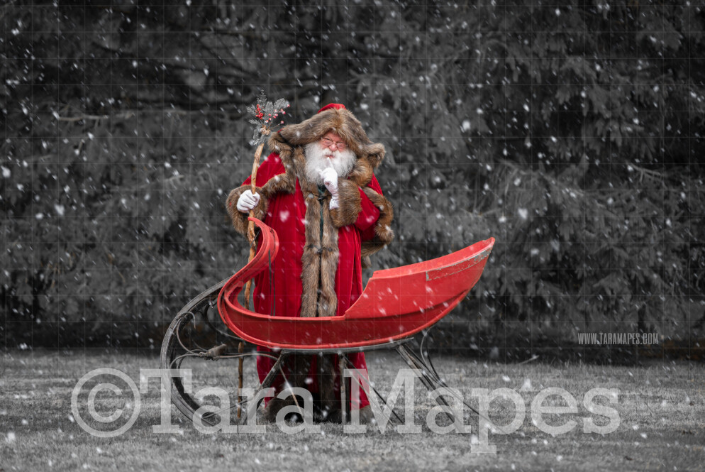 Victorian Santa with Sleigh Saying Shh - Victorian Santa in Snow - FREE SNOW OVERLAY - Whimsical Winter Digital Background Backdrop