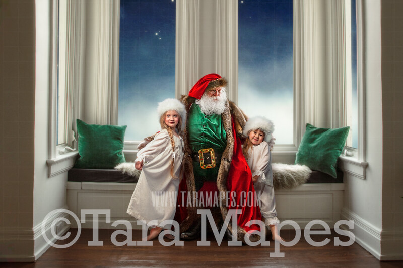 Victorian Santa Window Seat 2 Whimsical Scene  - Santa at Magical Bay Window Painterly Style Cozy Christmas Holiday Digital Background Backdrop