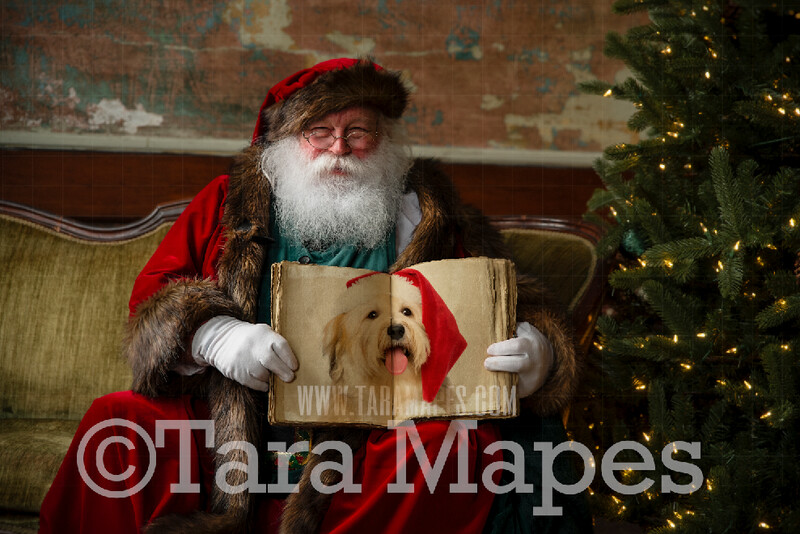 Victorian Santa Holding Book in Vintage Studio  - Santa with Book to Put Pictures Into-  Santa Holding Antique Book- Cozy Christmas Holiday Digital Background Backdrop