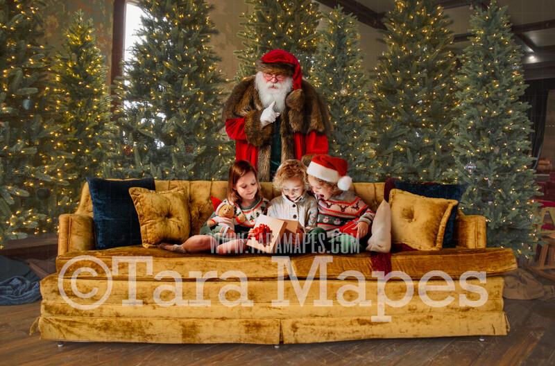 Victorian Santa Behind Vintage Couch Saying Shh  - Santa Surprising Children Scene- Cozy Christmas Holiday Digital Background Backdrop