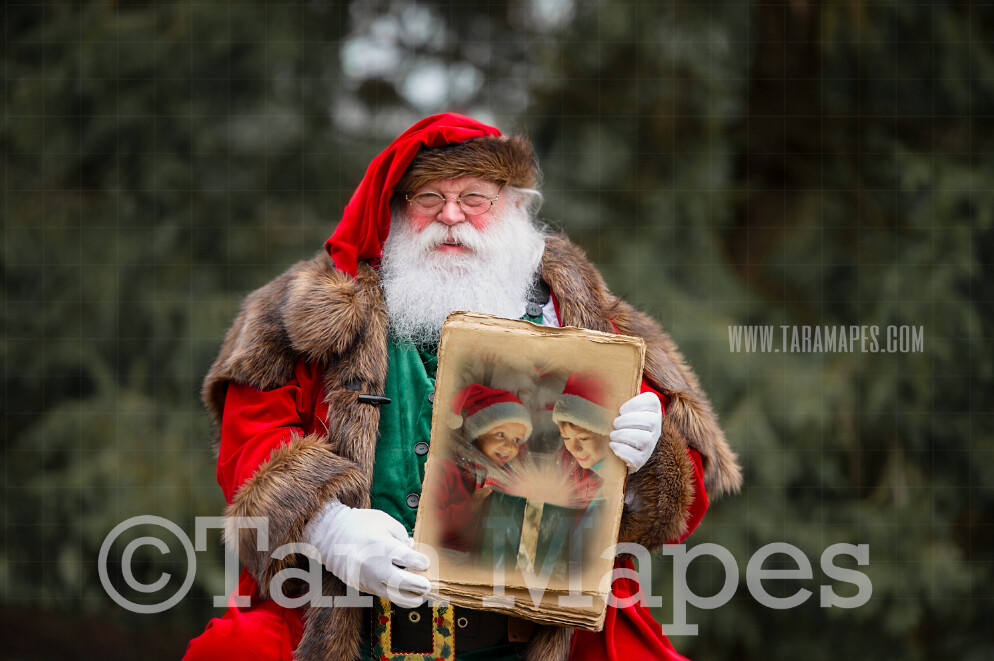 Victorian Santa Holding Book  - Santa with Book to Put Pictures Into-  Santa Holding Old Papers Scroll - Cozy Christmas Holiday Digital Background Backdrop