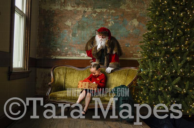 Victorian Santa Behind Vintage Couch Loveseat Saying Shh  - Santa Surprising Children Scene- Cozy Christmas Holiday Digital Background Backdrop