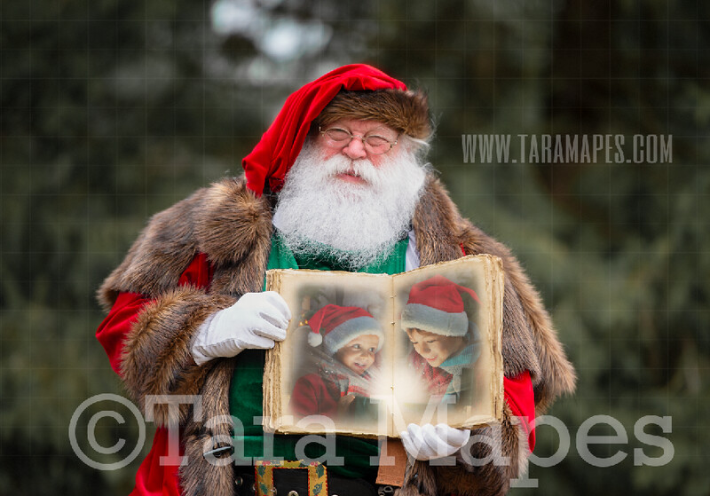 Victorian Santa Holding Book  - Santa with Book to Put Pictures Into- Cozy Christmas Holiday Digital Background Backdrop