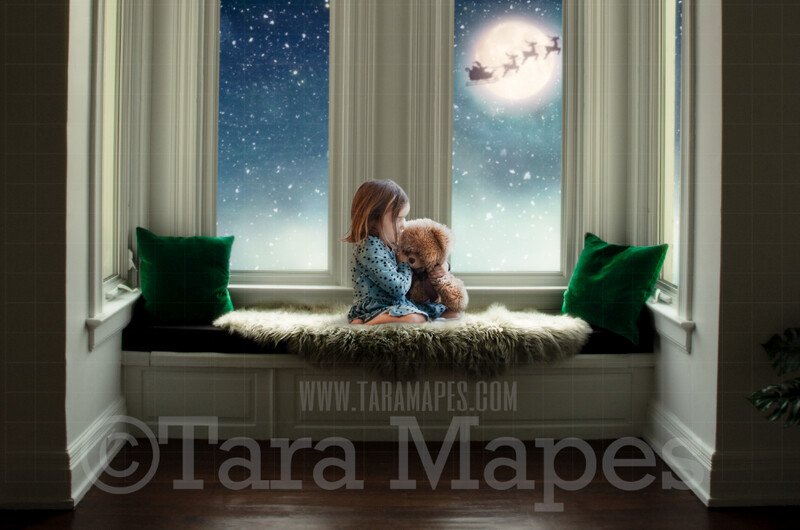 Victorian Christmas Window Seat Whimsical Scene  - Santa in Moon at Magical Bay Window Painterly Style Cozy Christmas Holiday Digital Background Backdrop