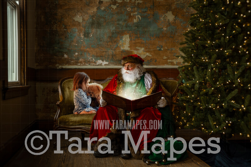 Victorian Santa Reading Magic Book on Loveseat - Santa Reading Book on Couch - Cozy Christmas Holiday Digital Background Backdrop