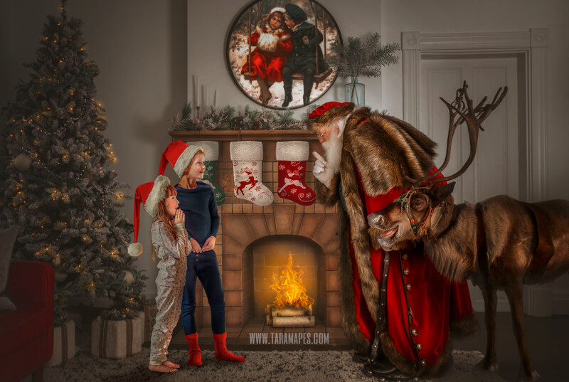 Victorian Santa and Rudolph by Fireplace  - Vintage Santa Scene - Painterly Christmas Background - Holiday Digital Background Backdrop