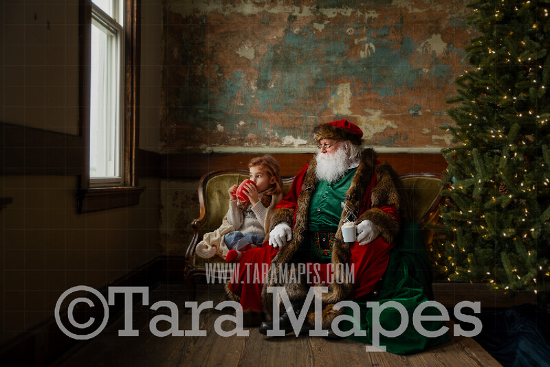 Victorian Santa with Hot Chocolate on Loveseat - Santa Sitting on Couch - Cozy Christmas Holiday Digital Background Backdrop