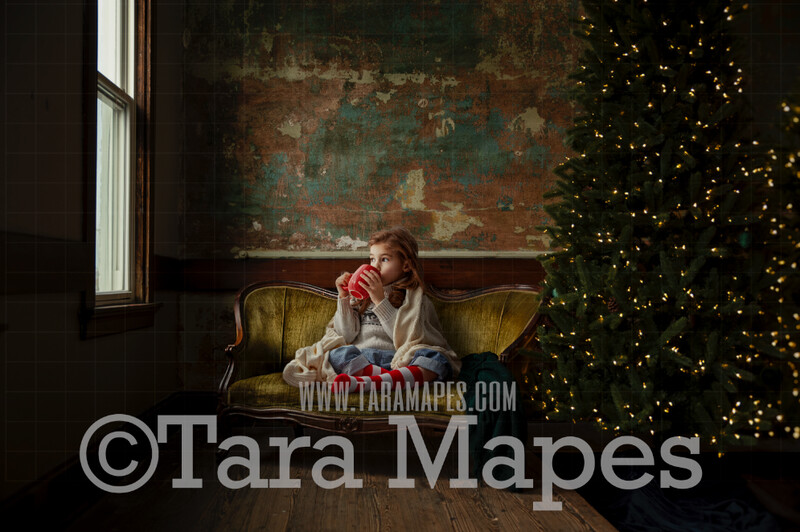 Victorian Loveseat by Christmas Tree - Vintage Christmas Couch - Cozy Christmas Holiday Digital Background Backdrop