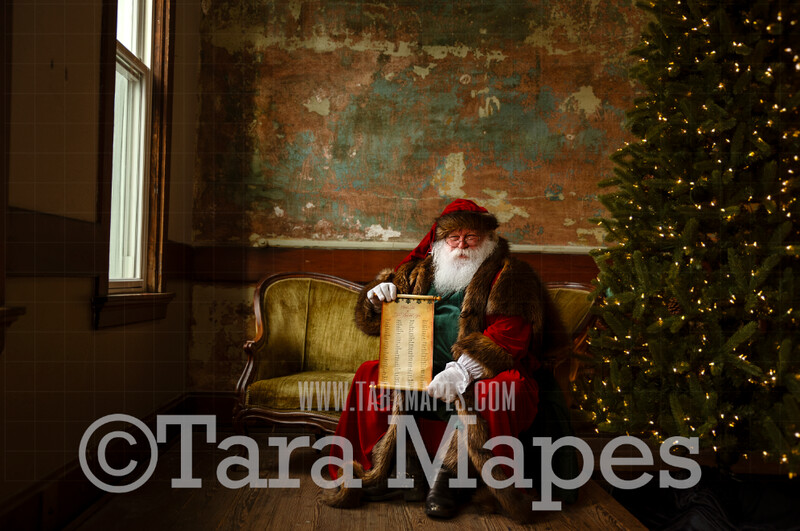 Victorian Santa with Scroll Good List - Santa Sitting on Vintage Couch - Cozy Christmas Holiday Digital Background Backdrop