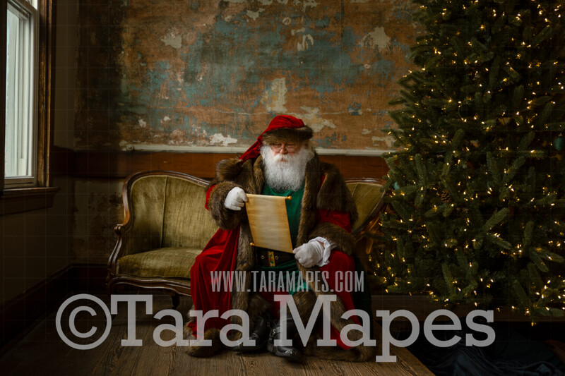 Victorian Santa with Scroll Good List Looking Down- Santa Sitting on Vintage Couch - Cozy Christmas Holiday Digital Background Backdrop