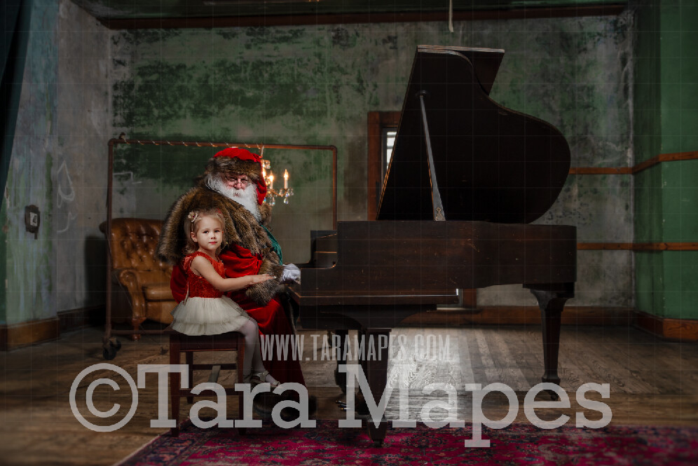 Victorian Santa at Piano - Santa Playing Piano - Santa Sitting at Piano - Cozy Christmas Holiday Digital Background Backdrop