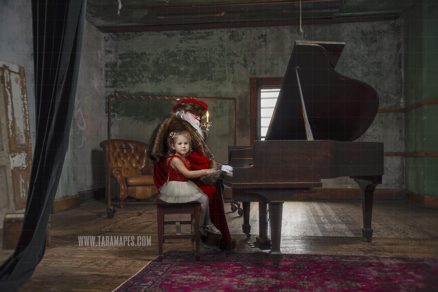 Victorian Santa at Piano - Santa Playing Piano - Santa Sitting at Piano - Cozy Christmas Holiday Digital Background Backdrop