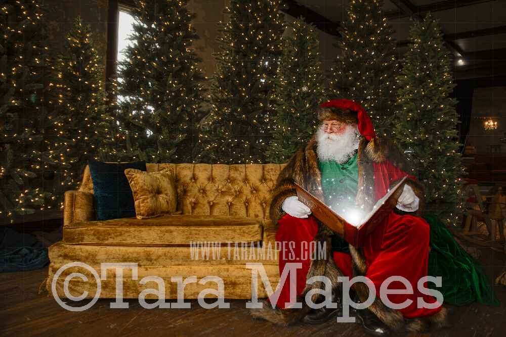 Victorian Santa on Big Couch with Magic Book  - Santa Reading on Couch- Cozy Christmas Holiday Digital Background Backdrop