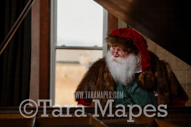 Victorian Santa at Piano Close Up - Santa Playing Piano - Santa Sitting at Piano - Cozy Christmas Holiday Digital Background Backdrop