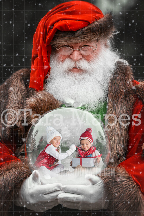 Victorian Santa Holding Snow Globe - LAYERED PSD! Snowglobe Santa - Snow Globe Santa Holiday Christmas Digital Background / Backdrop