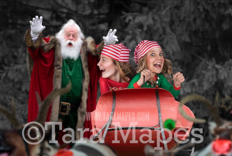 Santa's Stolen Sleigh - Funny Santa Scene - Santa's Sleigh and Reindeer- LAYERED PSD! Funny Christmas Card Idea - Holiday Christmas Digital Background / Backdrop