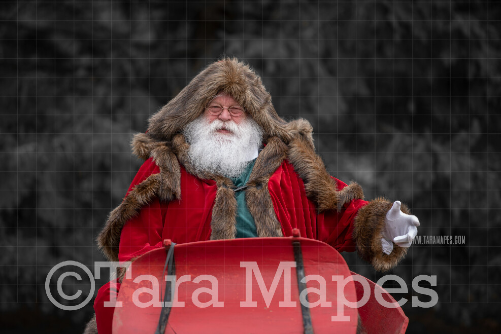 Victorian Santa in Sleigh - Victorian Santa in Snow - FREE SNOW OVERLAY - Whimsical Winter Digital Background Backdrop