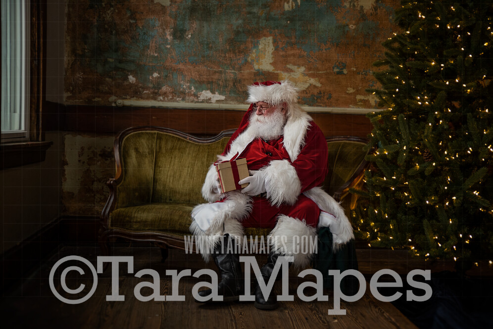 Vintage Santa with Gift on Loveseat - Santa Sitting on Vintage Couch - Cozy Christmas Holiday Digital Background Backdrop