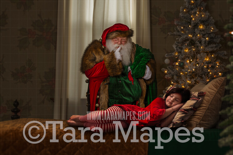 Victorian Santa Behind Bed Saying SHhhh- Santa in Bedroom- Cozy Christmas Holiday Digital Background Backdrop
